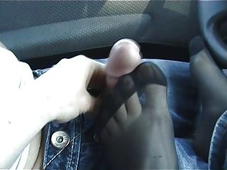A Footjob In Nylons In The Car Tmb