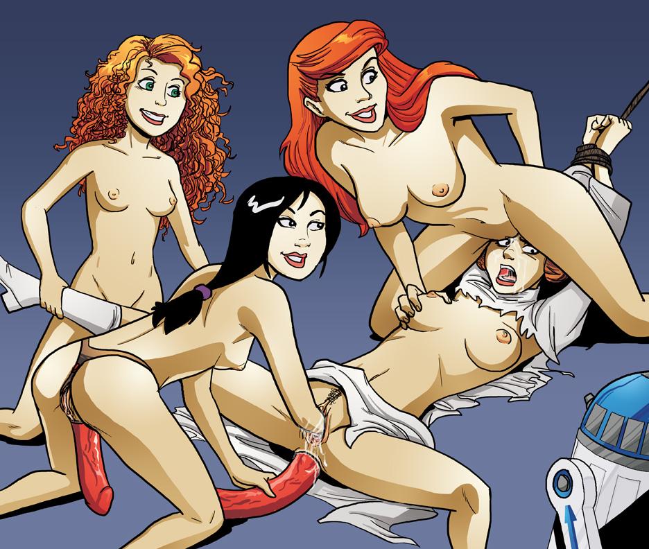 Ariel Brave Fa Mulan Princess Leia Organa Princess Merida Star Wars The Little Mermaid Crossover