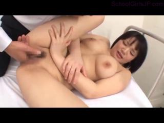 Busty Schoolgirl Fingered Sucking Cock Fucked The Doctor On The Bed In The Surgery Clip