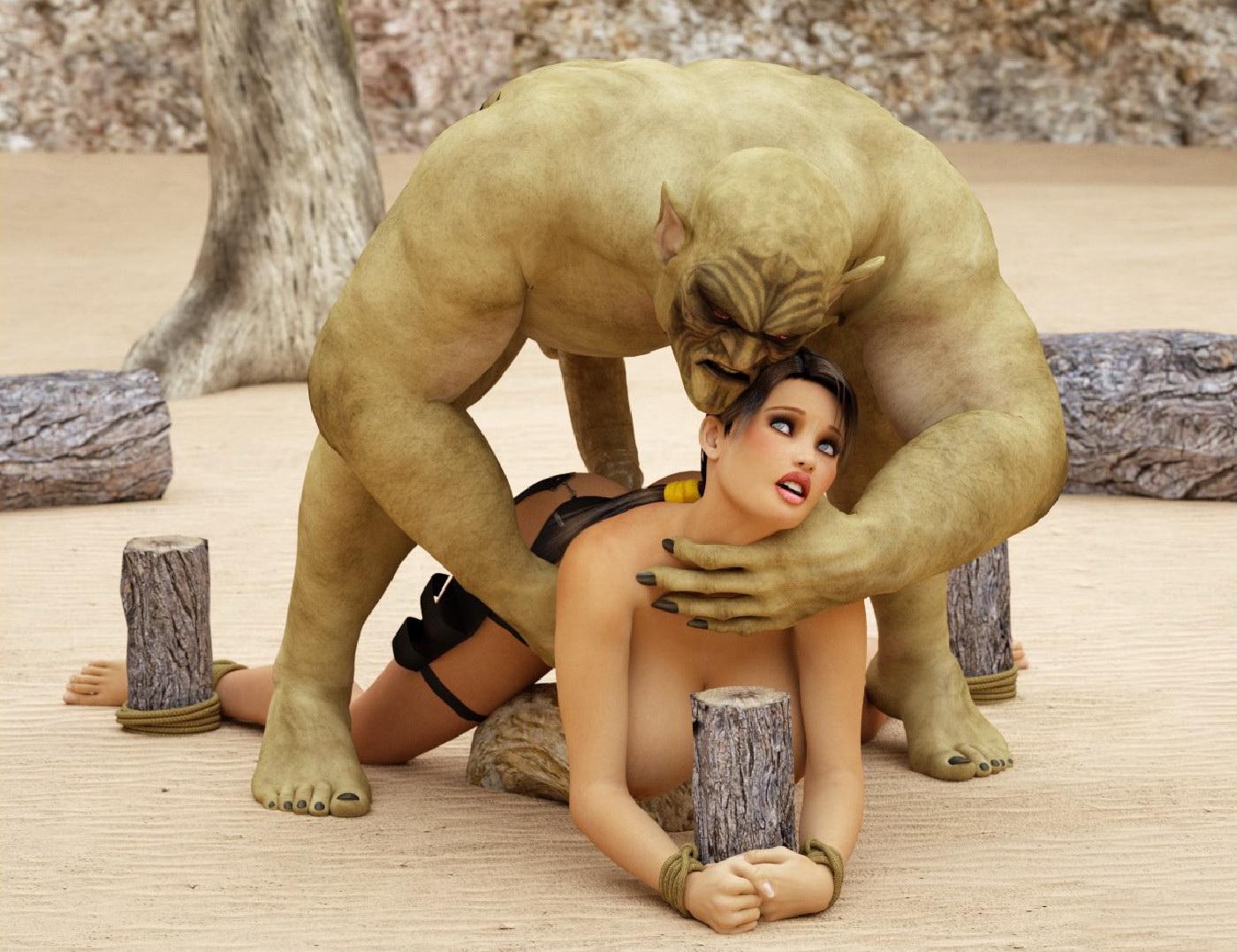 Fantasy Girl With Extra Large Tits Nailed Big Ogres