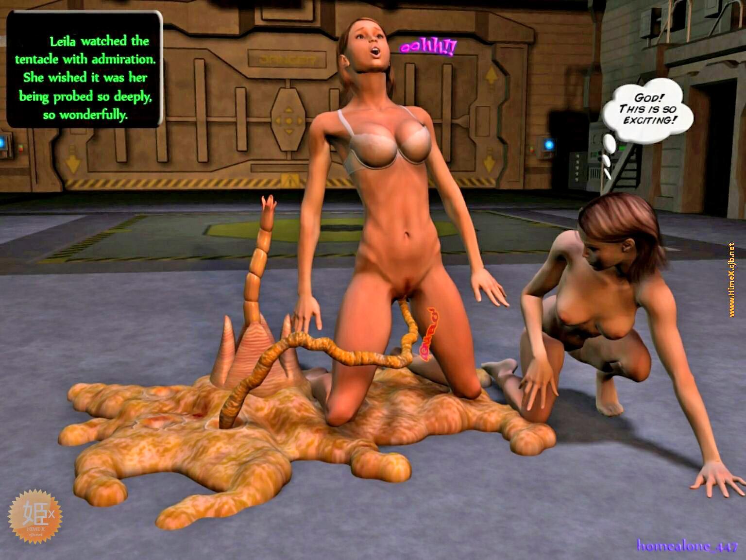 Alien Tentacle Porn Cartoon Comic girls having threesome with tentacled alien tentacle comic