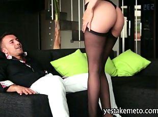 Glamour Brunette Babe Carol Vega In Stockings Fucked And Facialed