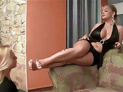 Mature Mistress Use Young Lesbian Feet Slave Femdom Foot Fetish Lesbian 1