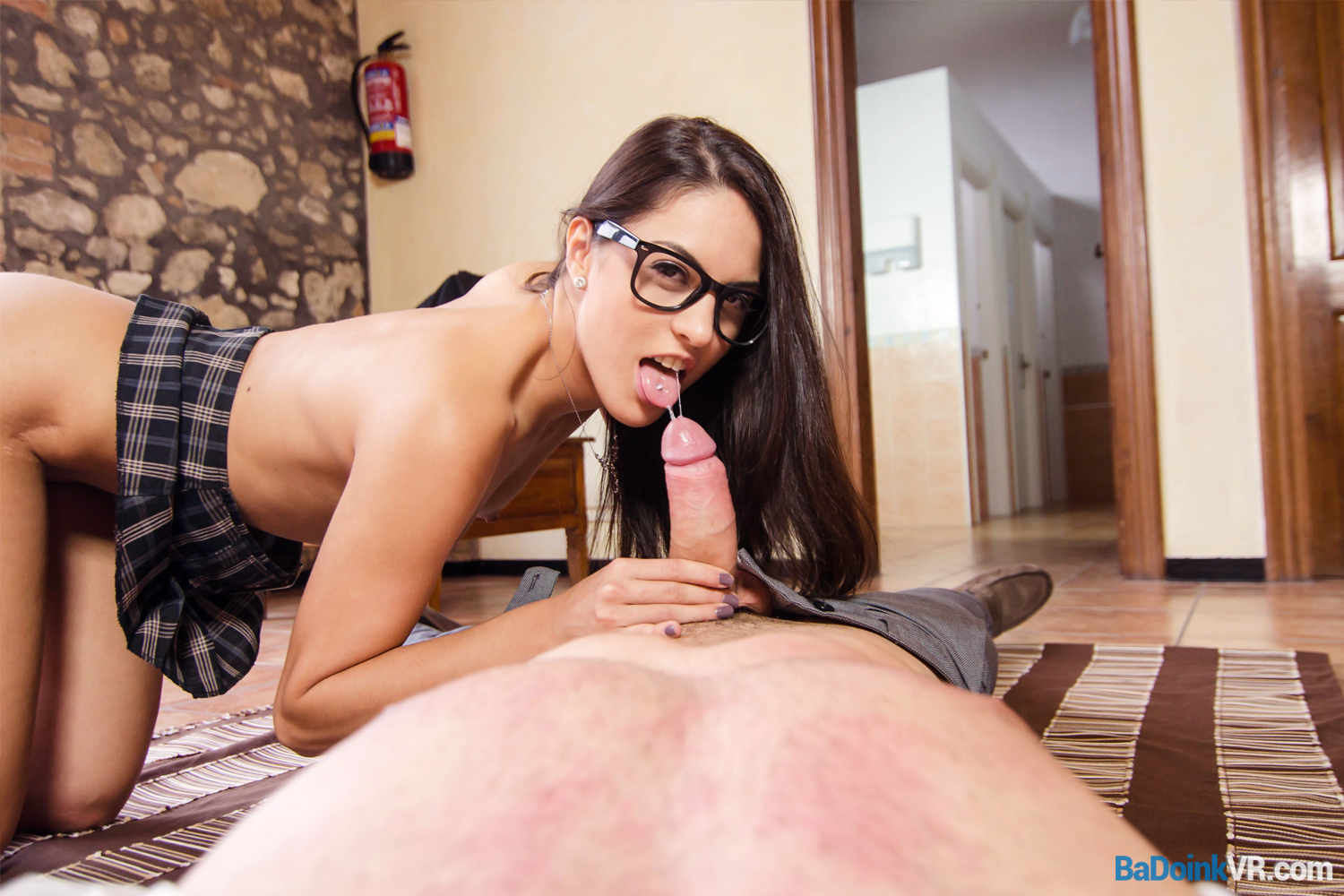 Naughty Video Porn naughty schoolgirl gets a cute glasses girl sex badoinkvr