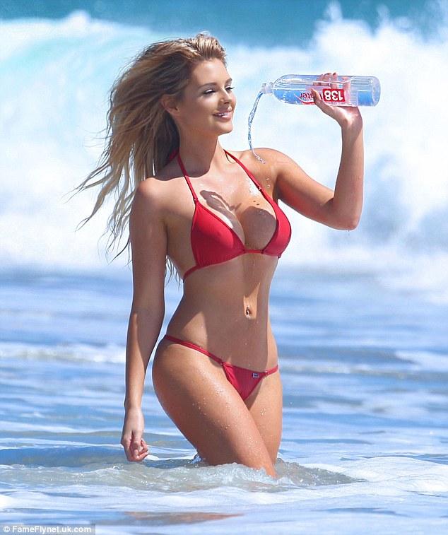 Playboy Model Sarah Harris In A Bikini Dousing Herself