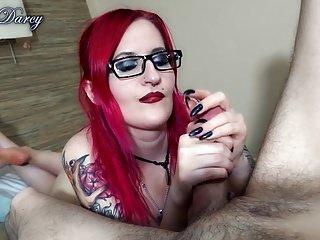 Redhead Tattooed Goth Handjob