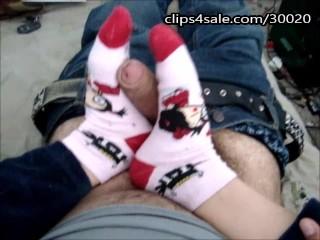 Sockjob From Latina School Girl Huge Cumshot On Socks Fetish