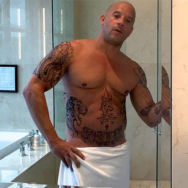 Vin Diesel Posts Shirtless Tattooed Shower Photo In Character For New Action Role